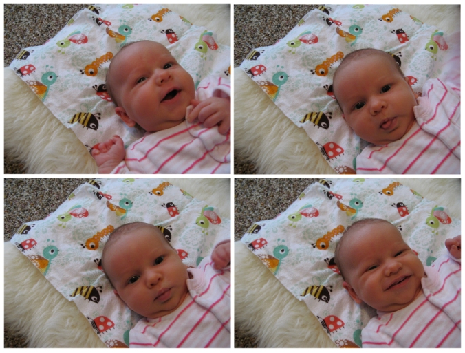 The many faces of baby Aveline - on an IKEA RENS sheepskin rug