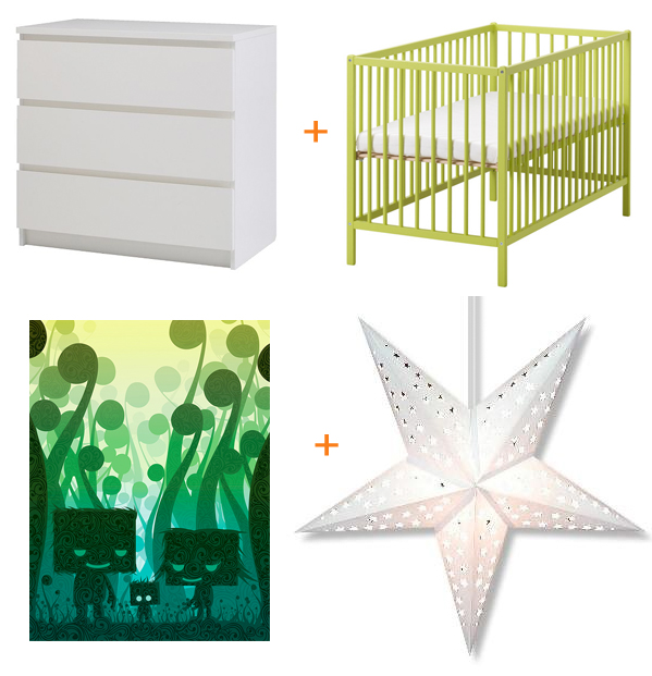 ikea malm 3-drawer dresser in white - ikea somant crib in lime green - tofu woodland family print from 26pm.com - white paper stars