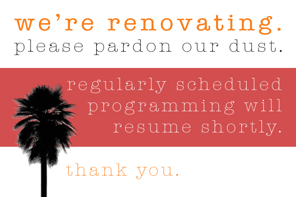 We're renovating. Please pardon our dust. Regularly scheduled programming will resume shortly. Thank you.