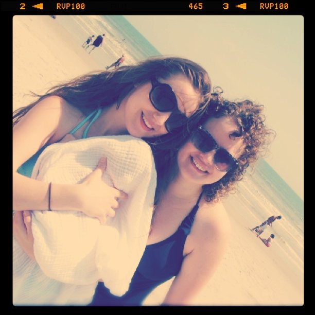 Lauren and Gina with baby Aveline at Cocoa Beach, Florida - Baby's first trip to the Atlantic Ocean