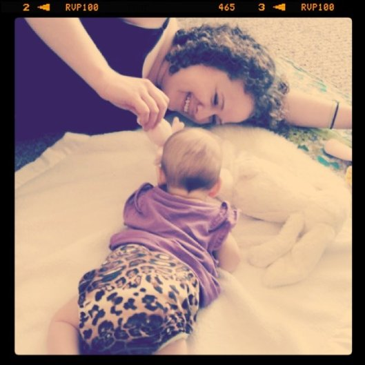 Auntie Lauren and Baby Aveline - Baby is sporting NatureBabiesUK Leopard Pattern Cloth Diaper Cover