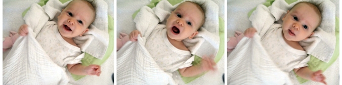 Filmstrip of Aveline's expressions - 11 week infant