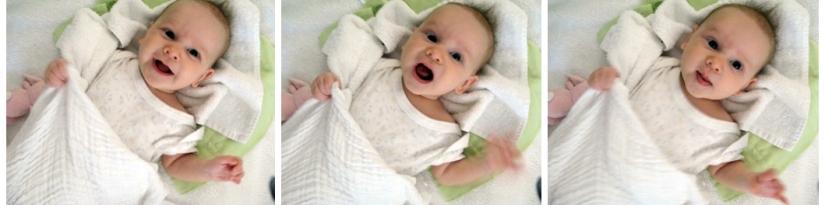Filmstrip of Aveline's expressions - 11 week infant