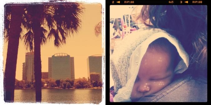 Lake Eola Orlando; baby Aveline wearing lacy sunbonnet