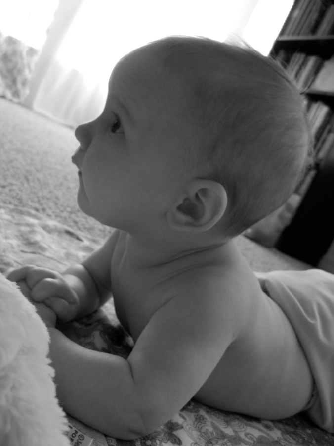 black and white photo of three month old baby girl