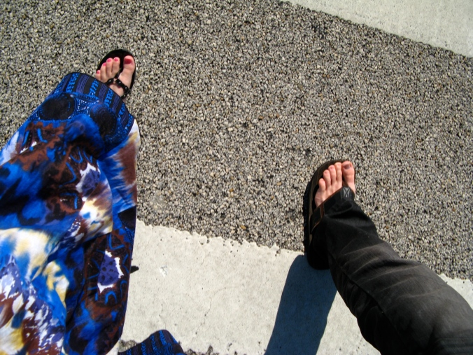 oaxacaborn and 26pm - crossing the street - skirt and sandals, flip flops with blue jeans
