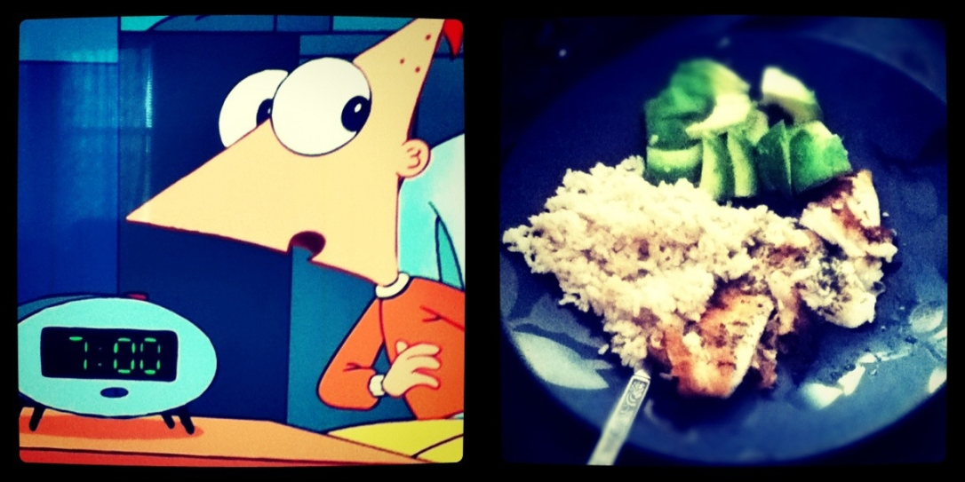 Phineas and Ferb screen capture; tilapia, avocado, and brown rice dinner.