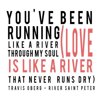 River Saint Peter - Travis Oberg - Typography Illustration of Lyrics by Gina Munsey