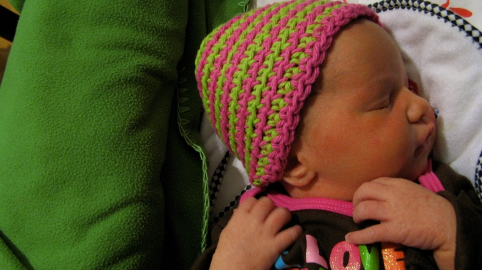 baby aveline alenka - 2 days old - hand crocheted cotton hat - lime green and pink