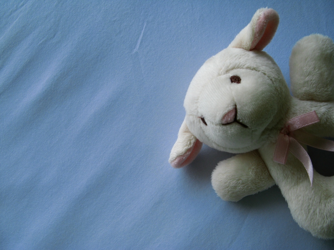 plush lamb teething rattle on light blue background