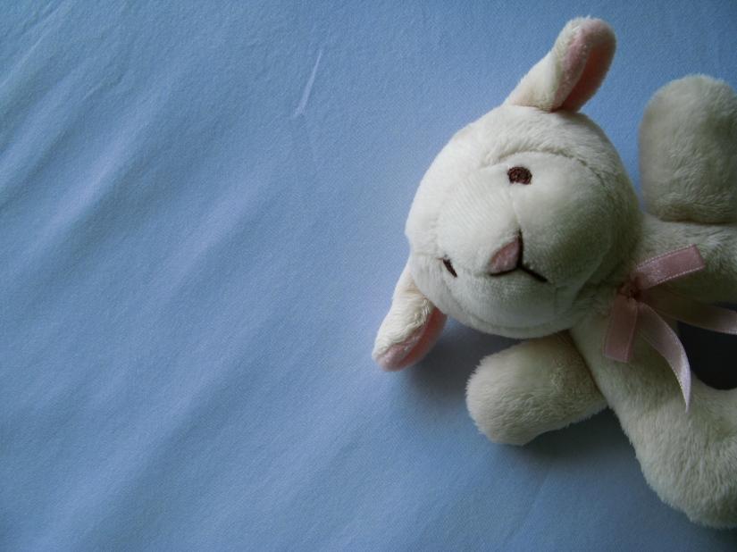 plush lamb teething rattle on light blue background