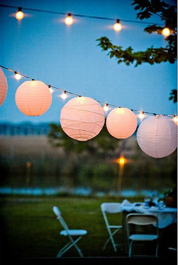 oaxacaborn's outdoor pinterest board - paper lanterns and string of lights at dusk via stacey bode