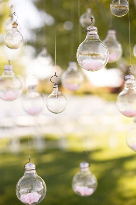 oaxacaborn outdoor pinterest board - via style me pretty - via tana photography and hope blooms floral design - hanging lightbulbs from tree