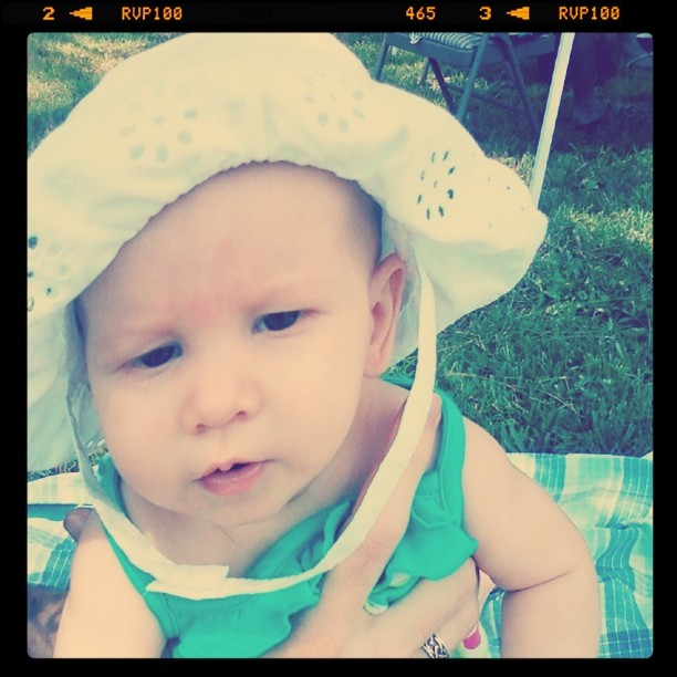 baby wearing white eyelet lace sunhat - instagram nashville filter