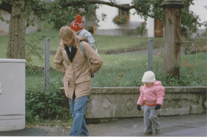 Walking with my mom and brother in Eastern Europe in the 1980s