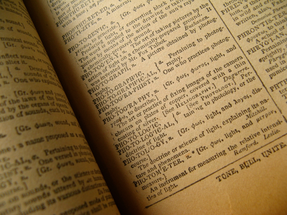 "30 Day June Photo Challenge - Day 6 - Books - Definition of photography from an original 1847 Webster's Dictionary: ""The art or practice of fixing images of the camera obscura on plates of copper, covered with a thin coating of silver."""