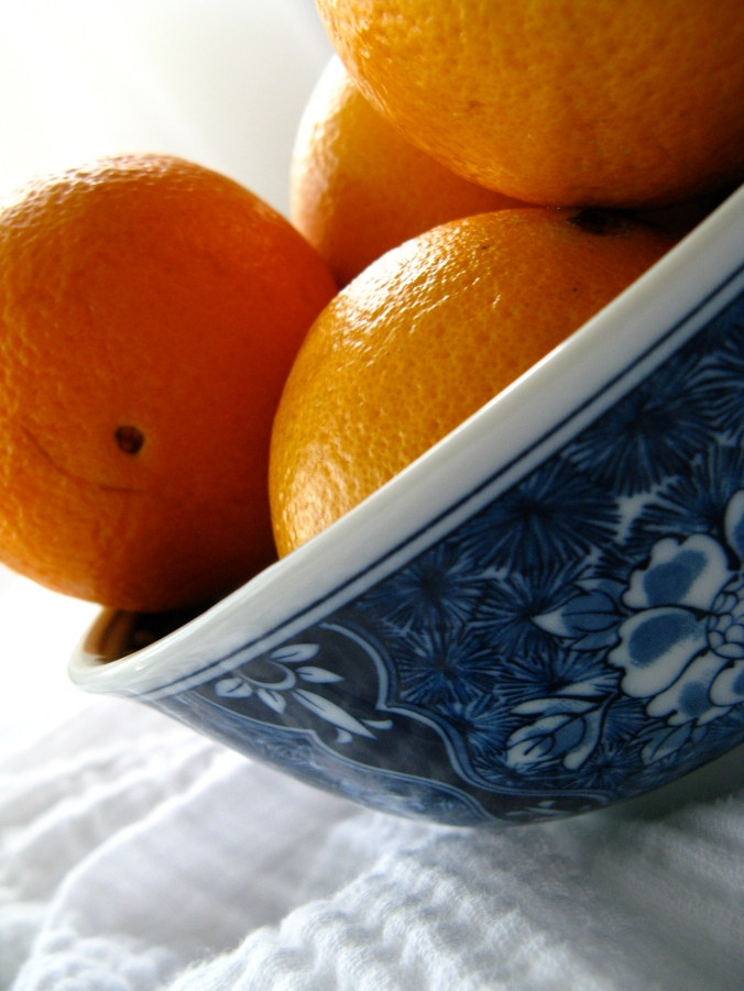 30 Day June Photo Challenge - Day 9 - Fruit - Californian in Florida - Navel Oranges in Blue and White Ceramic Bowl