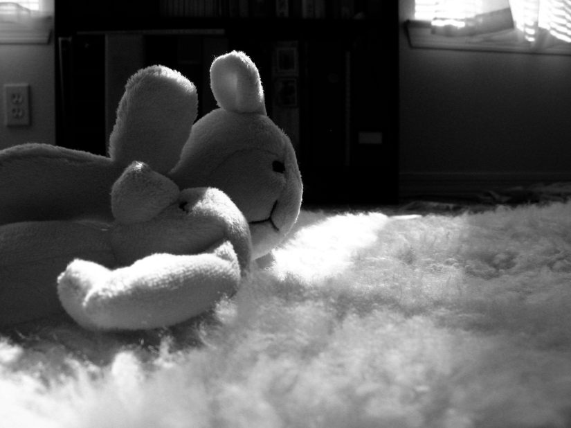 Black and white photo of plush baby toy and rattle on sheepskin in the sunlight