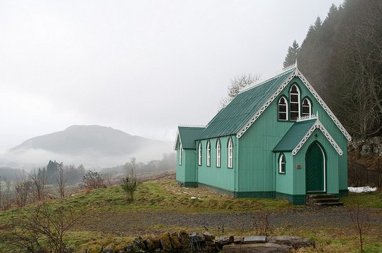 our lady of mercy, dull, scotland - beautiful ocean-green church in the mountains - maraid design