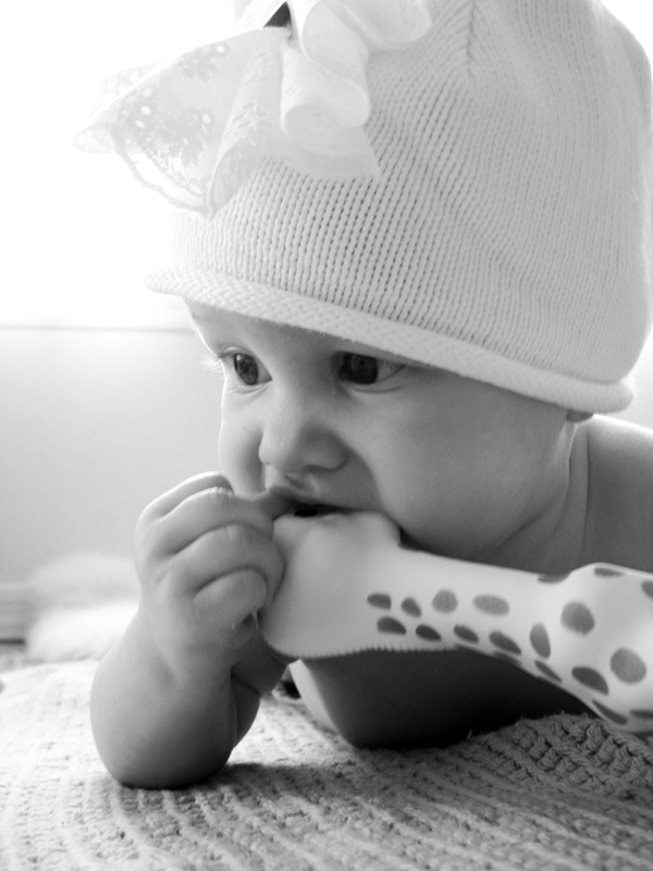 Black and white photo of Aveline wearing hat with lace flower while chewing on Sophie the Giraffe
