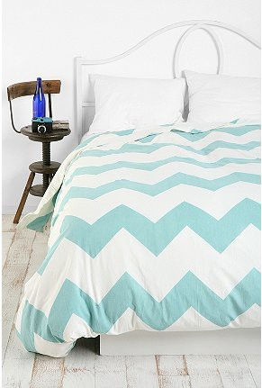 Blue and White Zig Zag Chevron Duvet Cover from Urban Outfitters