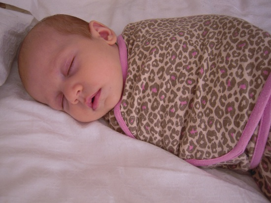 2 - Guest Post - Cedar Taylor - The Vintage Wife - Baby Lucy in Pink Leopard Spot Swaddle