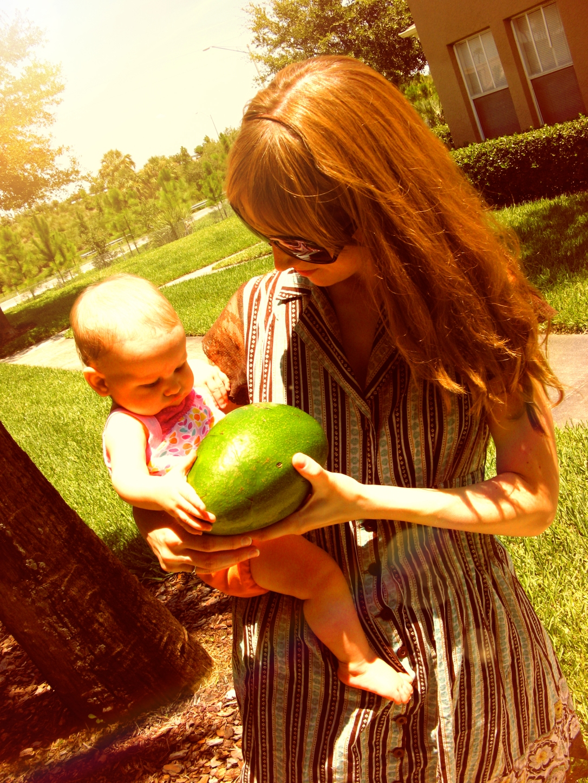 Gina and Aveline with Florida avocado
