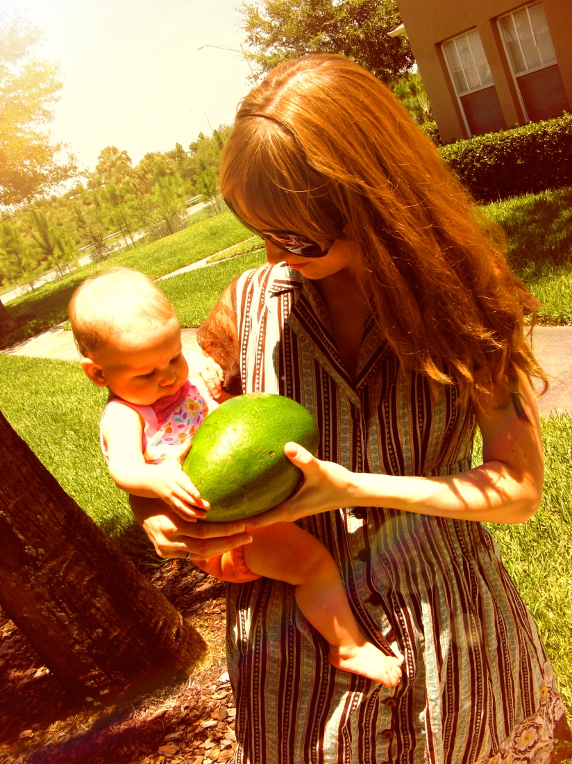 Gina and Aveline with Florida avocado