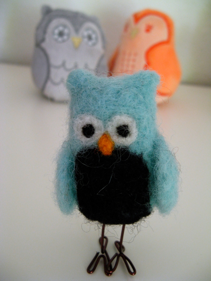 Handmade Felted Owl from BlissFull Essence / Evenswood Owlbums (Urban Outfitters Plush Owlets in the background) - Oaxacaborn - Aveline's room