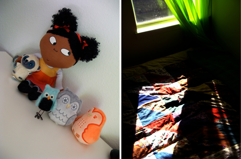 Oaxcaborn - Felted Owl in Aveline's room along with Charlie and Lola Lotta doll and Urban Outfitters plush owlets - sun shining through green curtains onto quilt