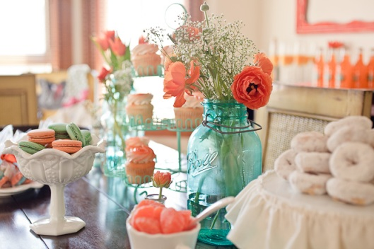 Aqua Orange Baby Shower via Lovely Little Details