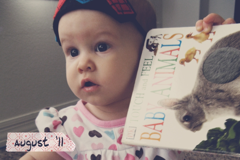 Aveline holding up Baby Animals board book - Seven Months Old