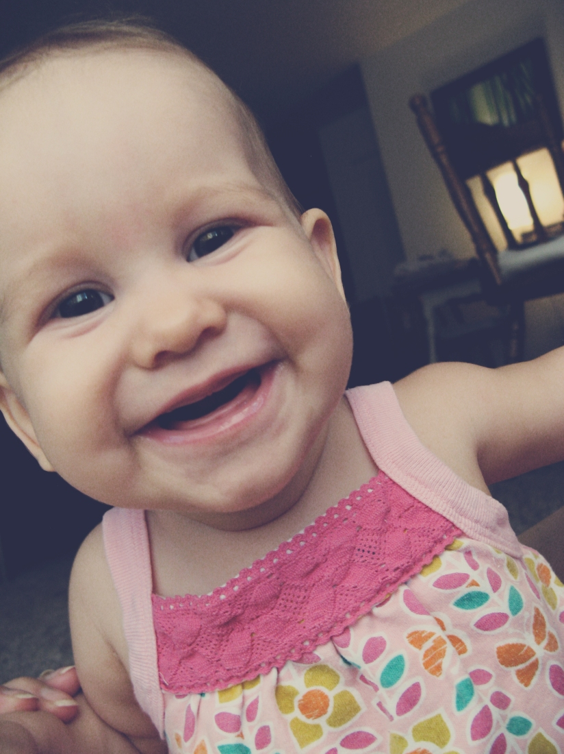 smiling seven month old baby girl - Aveline on Oaxacaborn