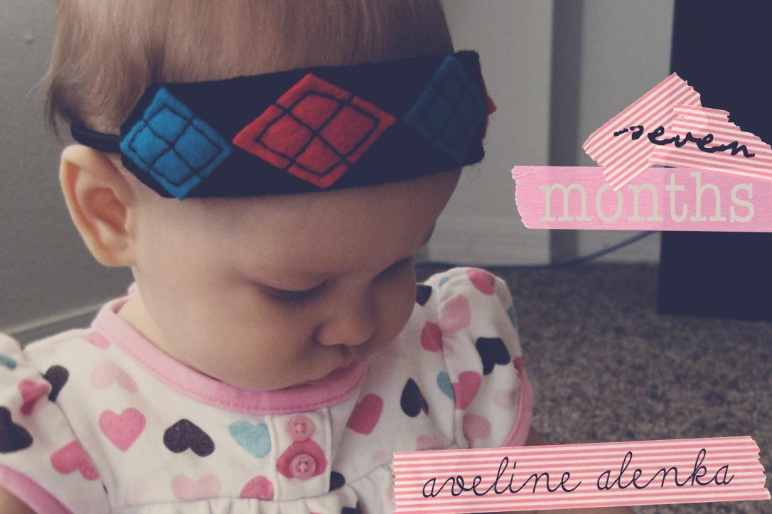 Aveline wearing argyle felt headband - Seven Month Birthday