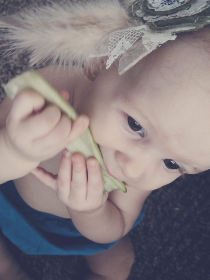 Baby wearing boho lace and feather headband via Oaxacaborn on Etsy