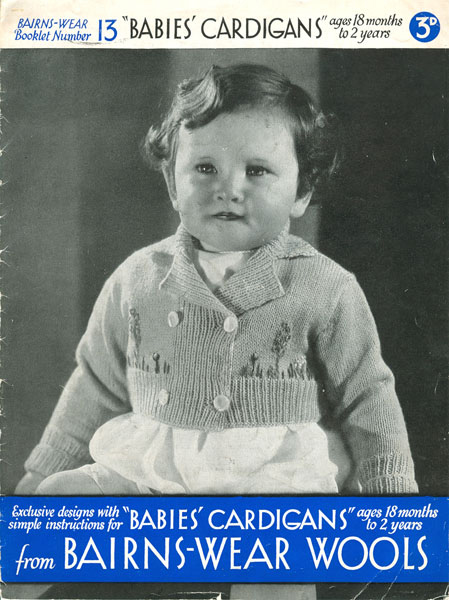 Bairns-Wear Knitting Wools 1930s Babies' Cardigan