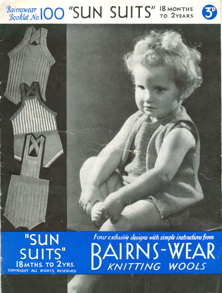 Bairns-Wear Knitting Wools 1940s Sunsuit