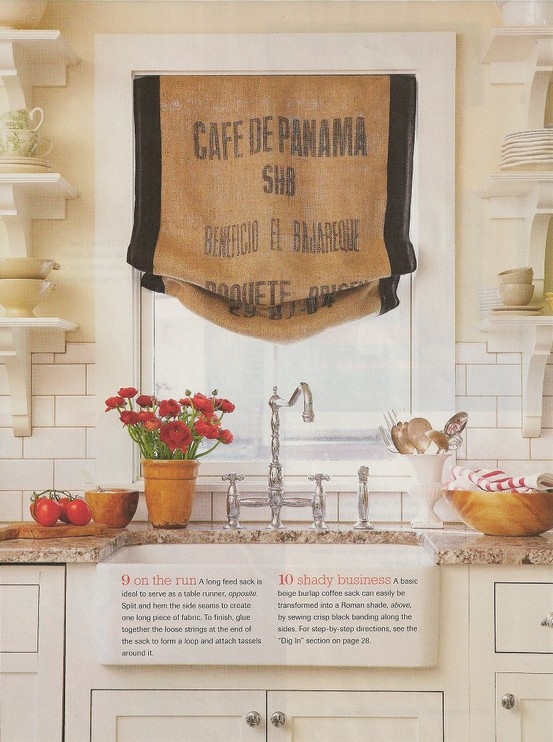 Better Homes and Gardens Decorating Idea - Roman Shade out of Burlap Sack