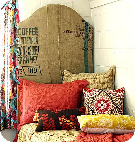 burlap headboard - guatemalan coffee - red and yellow patterned bedding and curtains