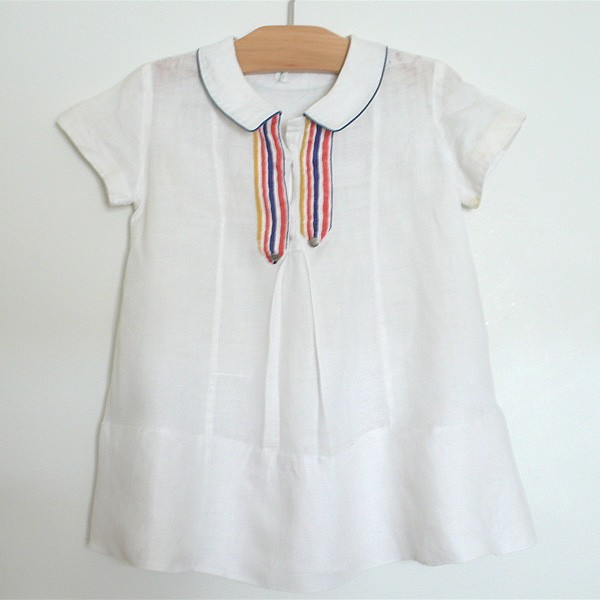 Linen Stripe Vintage baby Dress 1930 via Belle Heir Vintage