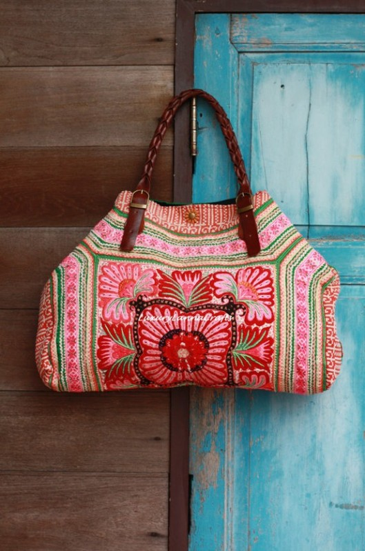 Luxury Tribal Ethnic Tote Bag made from Vintage Hmong Baby Carrier Fabric via LuxuryLannaCrafts on Etsy
