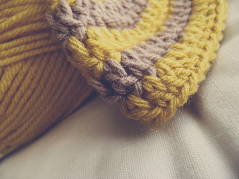 Mustard and Taupe Striped Crochet Hat via Oaxacaborn on Etsy