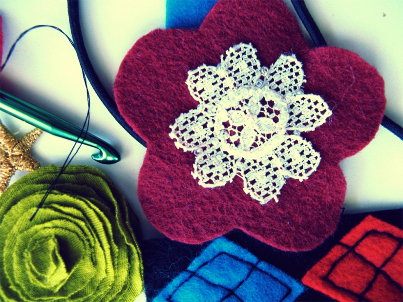 Oaxacaborn on Etsy - Work in Progress - Argyle Plaid and Maroon and White Lace Flower