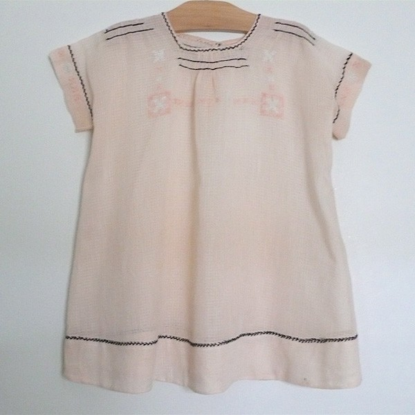 peach cotton gauze 1930 baby dress via belle heir vintage