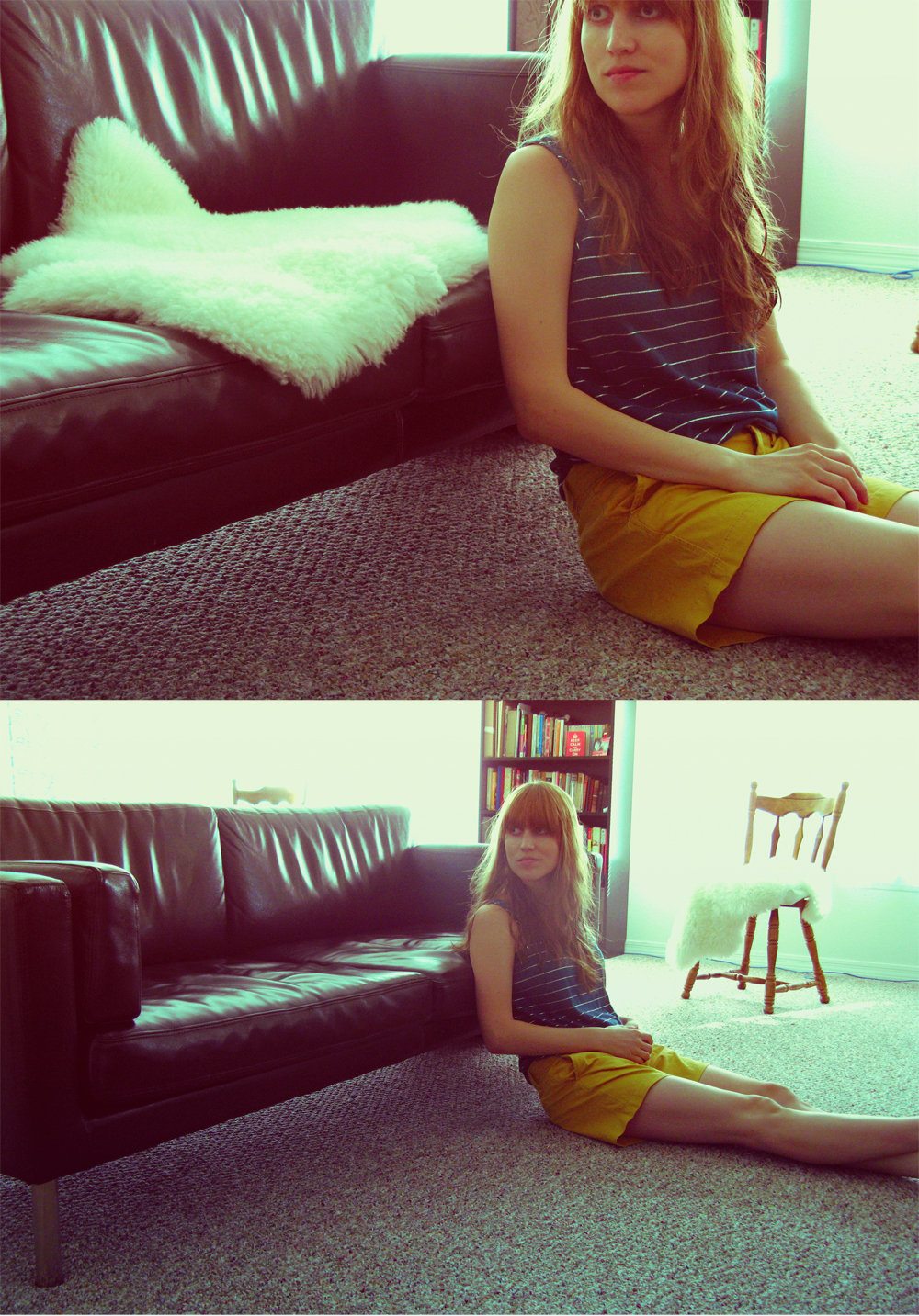 Self portrait - leather couch, sheepskin, sitting on floor - Photo a Day - August Photo Challenge