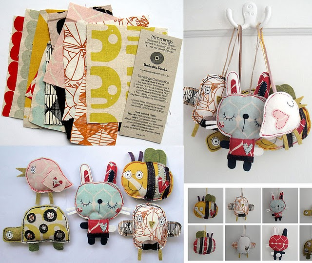 whimsical fabric, plush creatures made from fabric scraps