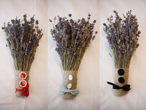 vintage-boathouse-wedding on ruffled blog - lavender bouquets wrapped in burlap