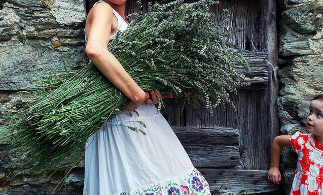 woman in white dress holding armful of lavender via FuoriBorgo on flickr