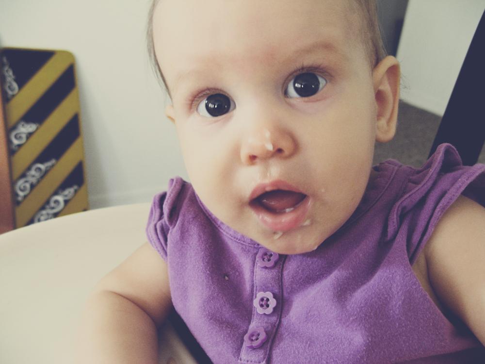 Aveline eats oatmeal