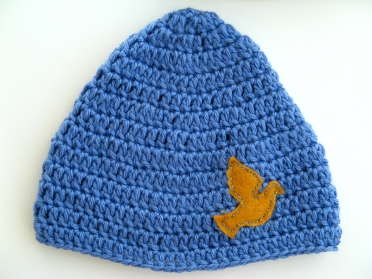 HAT Bamboo and Wool Blend - Unisex Peace Dove Hat - Periwinkle